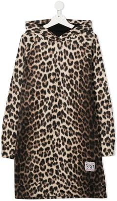 No21 Kids TEEN leopard-print hooded dress