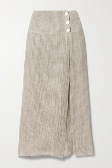 Le Kasha + Net Sustain Haifa Organic Linen-gauze Maxi Skirt - Beige