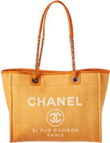 Chanel Orange Denim Deauville Tote