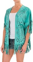 Wrangler Fringed Laser-Cut Open-Front Poncho - Faux Suede, Short Sleeve (For Women)