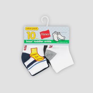 Hanes Toddler Boys' 10pk Athletic Socks - Colors May Vary