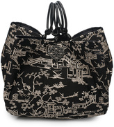 Josie Natori Pagoda Embroidery Large Bag