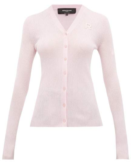 Rochas Logo-embroidered Wool Cardigan - Womens - Pink