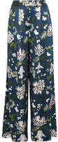ADAM by Adam Lippes Floral-print Silk-charmeuse Wide-leg Pants - Navy