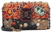 Dolce & Gabbana Leather-trimmed embellished shoulder bag