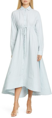Brock Collection Tie Waist Long Sleeve Cotton & Linen Maxi Dress