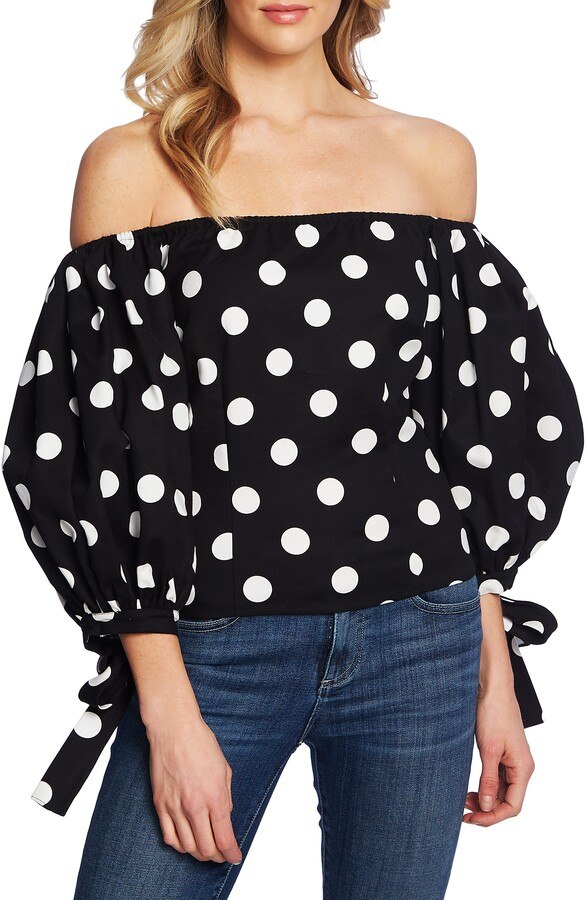 Dappled Dots Off the Shoulder Stretch Cotton Blouse