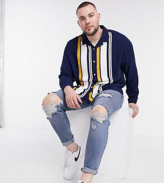 ASOS DESIGN Plus regular revere navy shirt in side placement stripe