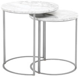 One Kings Lane Asst. of 2 Burse Nesting Tables - White/Silver