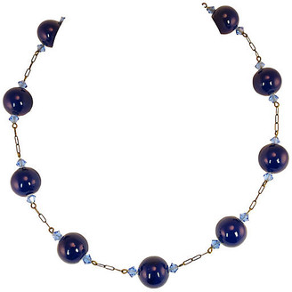 One Kings Lane Vintage Edwardian Cobalt Glass Globes Necklace - Neil Zevnik