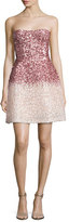 Monique Lhuillier Strapless Ombre Sequined Cocktail Dress, Pink