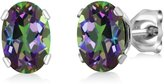 Gem Stone King 1.90 Ct Oval Shape Mystic Topaz Sterling Silver Stud Earrings