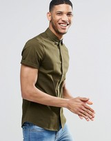 Asos Skinny Shirt In Khaki Twill With Short Sleeves