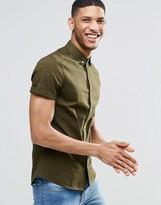 Asos Skinny Twill Shirt In Khaki