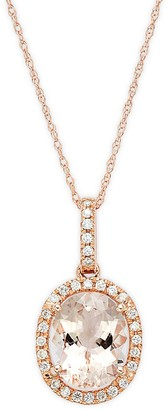 Saks Fifth Avenue 14K Rose Gold, Morganite Diamonds Pendant Necklace