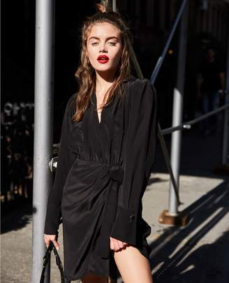 The Kooples Black long-sleeved short silk dress