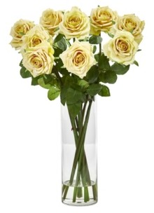 Nearly Natural Rose Artificial Arrangement in Cylinder Vase