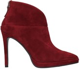 Lola Cruz High Heels Ankle Boots In Bordeaux Suede