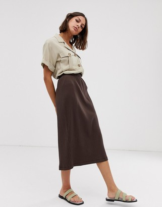Weekday ribbed split front midi skirt in brown