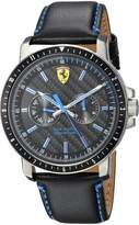 Ferrari Men's 'TURBO' Quartz Stainless Steel and Leather Casual Watch, Color: (Model: 830448)