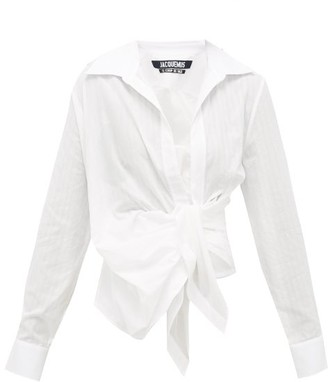 Jacquemus Bahia Gathered Cotton-poplin Shirt - Womens - White
