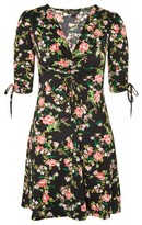 Topshop PETITE Floral Ruched Tea Dress