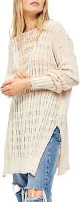 Free People Pretty In Pointelle Longline Sweater