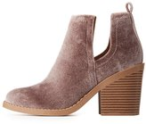 Charlotte Russe Velvet Side-Slit Ankle Booties