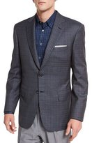 Brioni Windowpane-Check Two-Button Sport Jacket, Gray