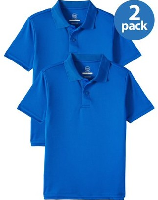 Wonder Nation Boys School Uniform Short Sleeve Performance Polo Shirt, 2-Pack Value Bundle, Sizes 4-18 & Husky