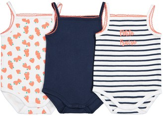 La Redoute Collections Pack of 3 Cotton Bodice Bodysuits, Birth-3 Years