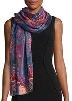 Etro Dehli Paisley Wool & Silk Scarf, Denim