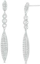 Zales 1 CT. T.W. Diamond Elongated Marquise Drop Earrings in 10K White Gold