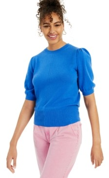 Charter Club Cashmere Peggy Puff Short-Sleeve Sweater, Created for Macy's