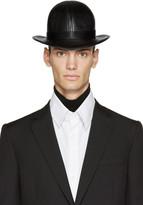 Kokon To Zai Black Faux-leather Short Bowler Hat