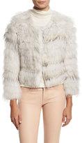 Alice + Olivia Fawn Rabbit & Fox Fur Bomber Jacket, Gray/White