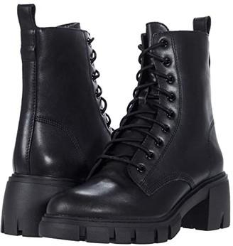 Steve Madden Hybrid Combat Bootie (Black Leather) Women's Shoes