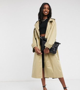 Asos Tall ASOS DESIGN Tall oversized utility trench coat in stone
