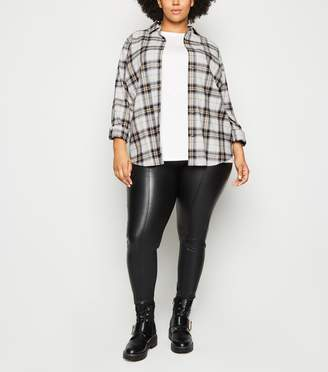 New Look Curves Check Oversized Shirt
