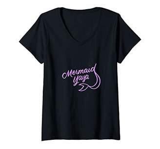 Ya-Ya Womens Mermaid Mermaids Theme Birthday Party Matching Family V-Neck T-Shirt