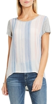 Two by Vince Camuto Mixed-material Paint-stripe T-shirt