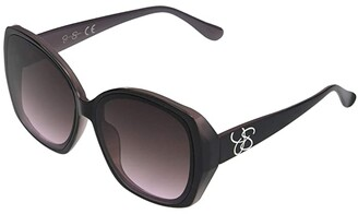 Jessica Simpson 60 mm Oversized Geometric (Black/Rose) Fashion Sunglasses