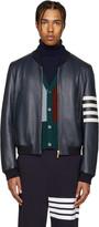 Thom Browne Navy Leather Varsity Bomber Jacket