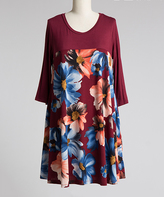 Burgundy Floral Colorblock Shift Dress - Plus