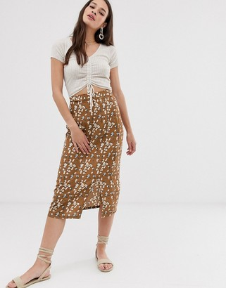 Daisy Street midi skirt in ditsy floral print