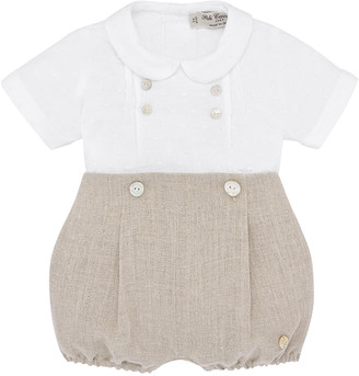 Carrera Pili Collared Shirt w/ Button-on Bubble Shorts, Size 3-24 Months