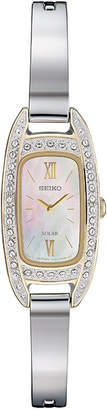 Seiko Women Solar Crystal Stainless Steel Bangle Bracelet Watch 16.5mm