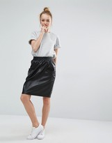 Monki Faux Leather High Waisted Pocket Skirt