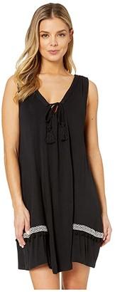 Dotti Resort Solids V-Neck Swing Dress Cover-Up (Black) Women's Swimwear