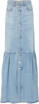 Jean Atelier Long Tiered Denim Skirt